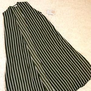 Sheer Striped Green & White LuLaRoe Joy Vest